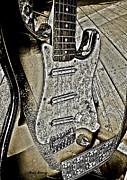 Pencil Drawing Photos - Brown Pencil Electric Guitar by Chris Berry
