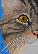 Cat Reliefs Metal Prints - Brown Tabby Cat Sculpture Metal Print by Valerie  Evanson