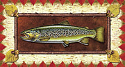 Trout Metal Prints - Brown Trout Lodge Metal Print by JQ Licensing