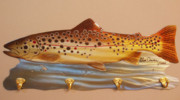 Fishing Sculpture Originals - Brown Trout Rack by Glen Cowan
