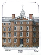 Historic Buildings Drawings Mixed Media - Brown University by Frederic Kohli