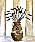 Browns Posters - Brown Vase on the Deck Poster by Marsha Heiken