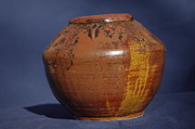 Brown Ceramics Metal Prints - Brown Vase Metal Print by Rick Ahlvers