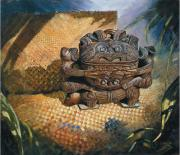 Treasure Box Painting Posters - brown Wakahuia Poster by Peter Jean Caley