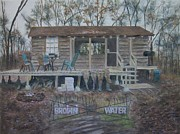 Hunting Cabin Painting Framed Prints - Brown Water Framed Print by Jackie  Hill