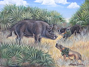 Wild Boar Paintings - Brownie And Clyde by Monica Turner