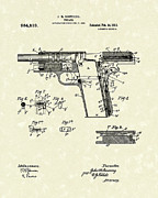 Weapon Drawings Framed Prints - Browning Handgun 1911 Patent Art Framed Print by Prior Art Design