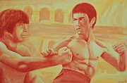 Bruce Lee Painting Originals - Bruce and Chuck by Derek Donnelly