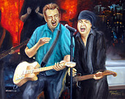 E Street Band Painting Prints - Bruce and Steven at the Apollo Print by Leonardo Ruggieri