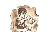 Pyrography Pyrography Framed Prints - Bruce Lee Framed Print by Clarence Butch Martin