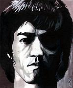 Martial Arts Framed Prints - Bruce Lee Portrait Framed Print by Alban Dizdari