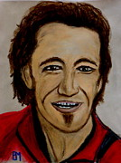 Bruce Springsteen Pastels Framed Prints - Bruce Framed Print by Pete Maier