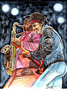 Bruce Springsteen Drawings - Bruce Springsteen and Clarence Clemons by Dave Olsen