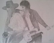 Bruce Springsteen Drawings - Bruce Springsteen And Clarence Clemons by Jami Cirotti