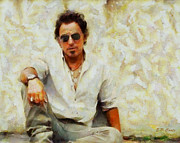 Springsteen Painting Prints - Bruce Springsteen Print by Elizabeth Coats