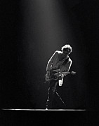 Black-and-white Photo Posters - Bruce Springsteen in the Spotlight Poster by Mike Norton