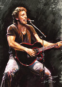 Rock Pastels Framed Prints - Bruce Springsteen  Framed Print by Ylli Haruni