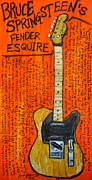 Iconic Guitars Painting Originals - Bruce Springsteens Fender Esquire by Karl Haglund