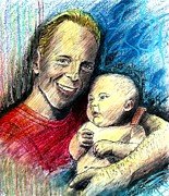 Sparkling Drawings Framed Prints - Bruce Willis Oil Pastel Portrait Framed Print by Romy Galicia