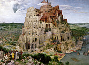 Judaism Prints - Bruegel - Tower Of Babel Print by Granger