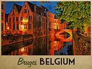 Belgian Posters - Bruges Belgium At Night Poster by Vintage Poster Designs