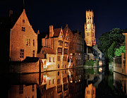 Europe Photo Framed Prints - Brugge Night Framed Print by Adam Romanowicz
