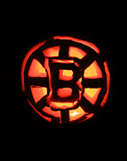 Jacko Lantern Framed Prints - Bruins Carved Pumpkin Framed Print by Lloyd Alexander