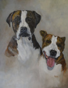Boxer Paintings - Bruiser and Brandy by Jimmie Trotter
