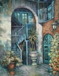 New Orleans Oil Paintings - Brulatour Courtyard by Dianne Parks