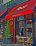 Restauraunt Framed Prints - Brunch at the Cafe Framed Print by Mamie Thornbrue