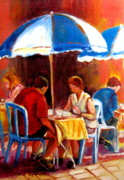 Kids Playing Hockey Paintings - Brunch At The Ritz by Carole Spandau