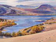 Desert Lake Painting Posters - Bruneau Sand Dunes Poster by Steve Spencer