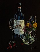 Italian Wine Painting Originals - Brunello and Crystal by James Scrivano