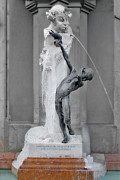 Two People Metal Prints - Brunnenbuberl - Boy at the fountain -  Munich Germany Metal Print by Christine Till