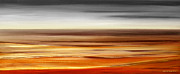 Sunset Prints Mixed Media Posters - Brushed 77 - Panoramic Sunset Poster by Gina De Gorna
