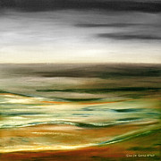 Sunsets Original Paintings - Brushed 77 - Square Sunset by Gina De Gorna
