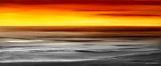 Sunset Prints Mixed Media Posters - Brushed 777 - Panoramic Sunset Poster by Gina De Gorna