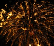 Fireworks Prints - Brushed Gold Print by Rhonda Barrett