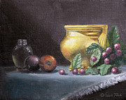 Interior Still Life Painting Metal Prints - Brushed Gold Vase Metal Print by Sarah Parks