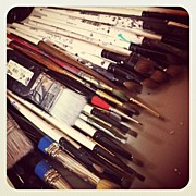 Iphone4 Posters - Brushes Lots Of Brushes Poster by  Abril Andrade Griffith