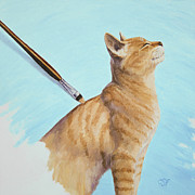Kitty Painting Posters - Brushing the Cat Poster by Crista Forest