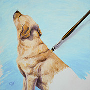 Yellow Labrador Retriever Paintings - Brushing the Dog by Crista Forest