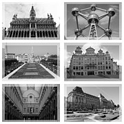 Belgium Photos - Brussels Collage - Black and White by Carol Groenen