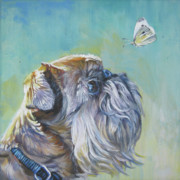 Brussels Posters - Brussels Griffon with Butterfly Poster by Lee Ann Shepard
