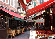 Outdoor Cafes Metal Prints - Brussels Restaurant Street - Rue de Bouchers Metal Print by Carol Groenen