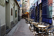 Outdoor Cafes Metal Prints - Brussels Side Street Cafe Metal Print by Carol Groenen