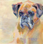 Boxer Portrait Paintings - Brutus by Kimberly Santini