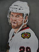 Blackhawks Drawings - Bryan Bickell by Brian Schuster