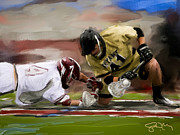 Bryant Prints - Bryant faceoff win Print by Scott Melby
