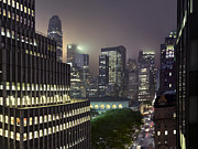 Bryant Park At Night From Roof Looking East Print by Jon Shireman